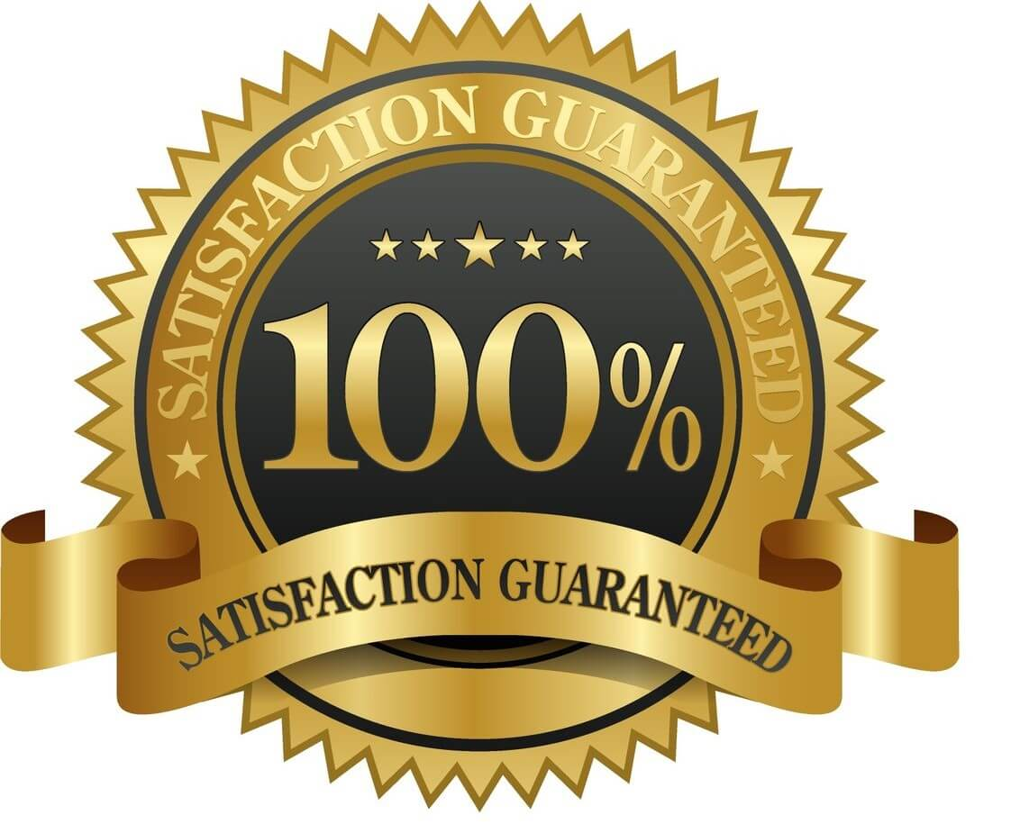An image of 100% satisfaction guaranteed.